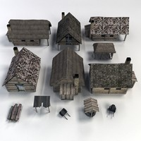 medieval buildings accessories 3d model