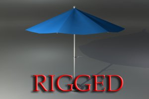 rigged umbrella patio 3d ma