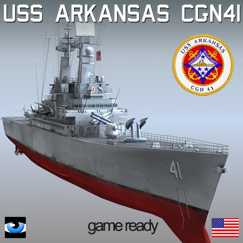 uss arkansas cgn-41 sh-60 3d model