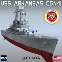 uss arkansas cgn-41 sh-60 3d model
