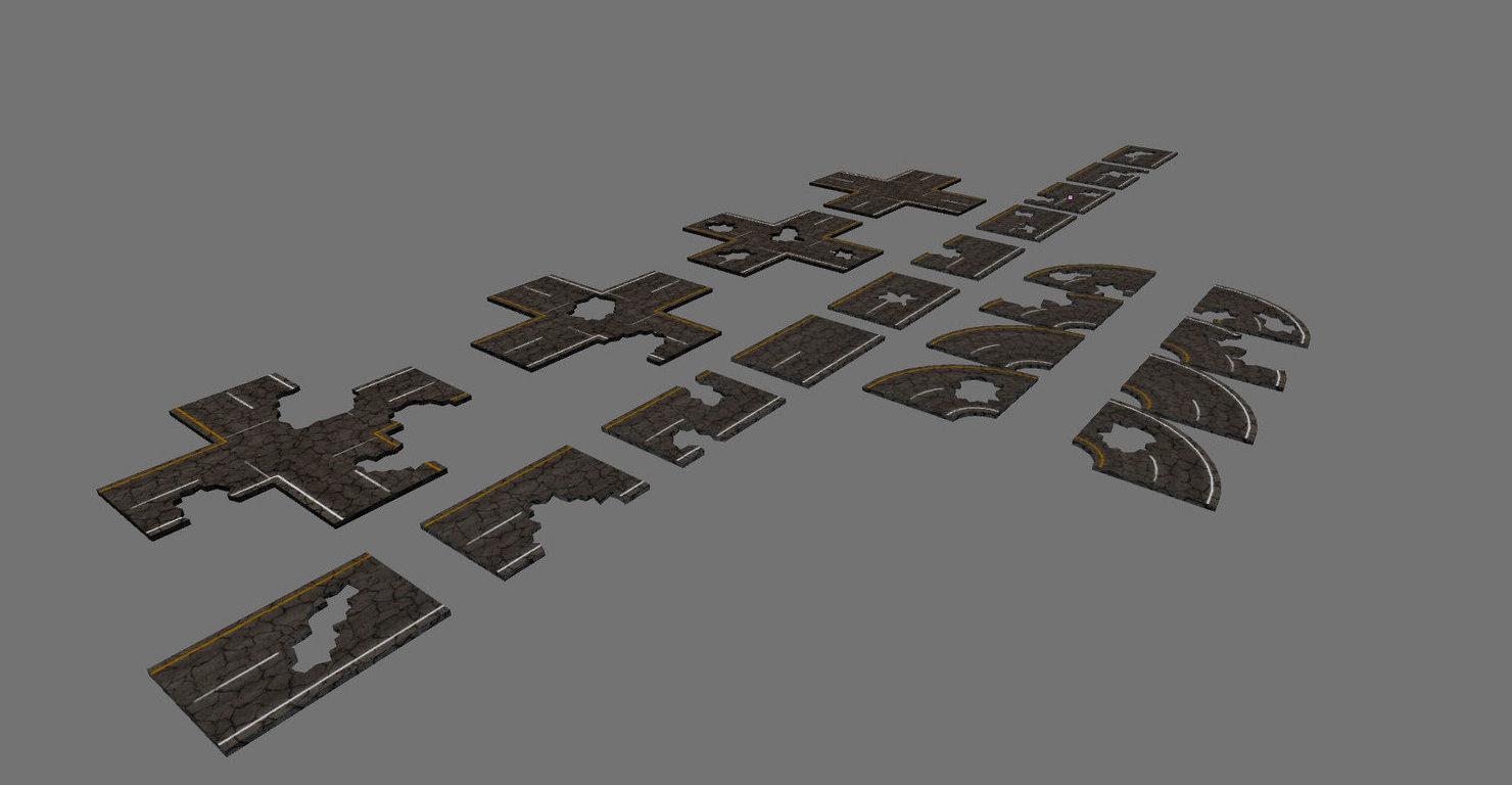 3d set road damaged model