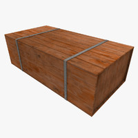 metal strapped wooden crate 3d model