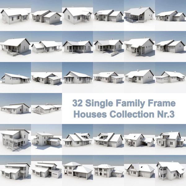 3d model 32 frame houses