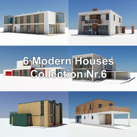 6 modern houses 3d model