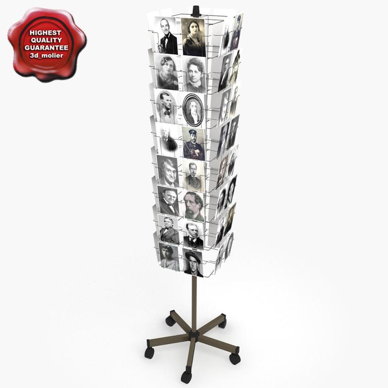 3d postcard rack v2 model