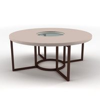 Low round table with glass centre