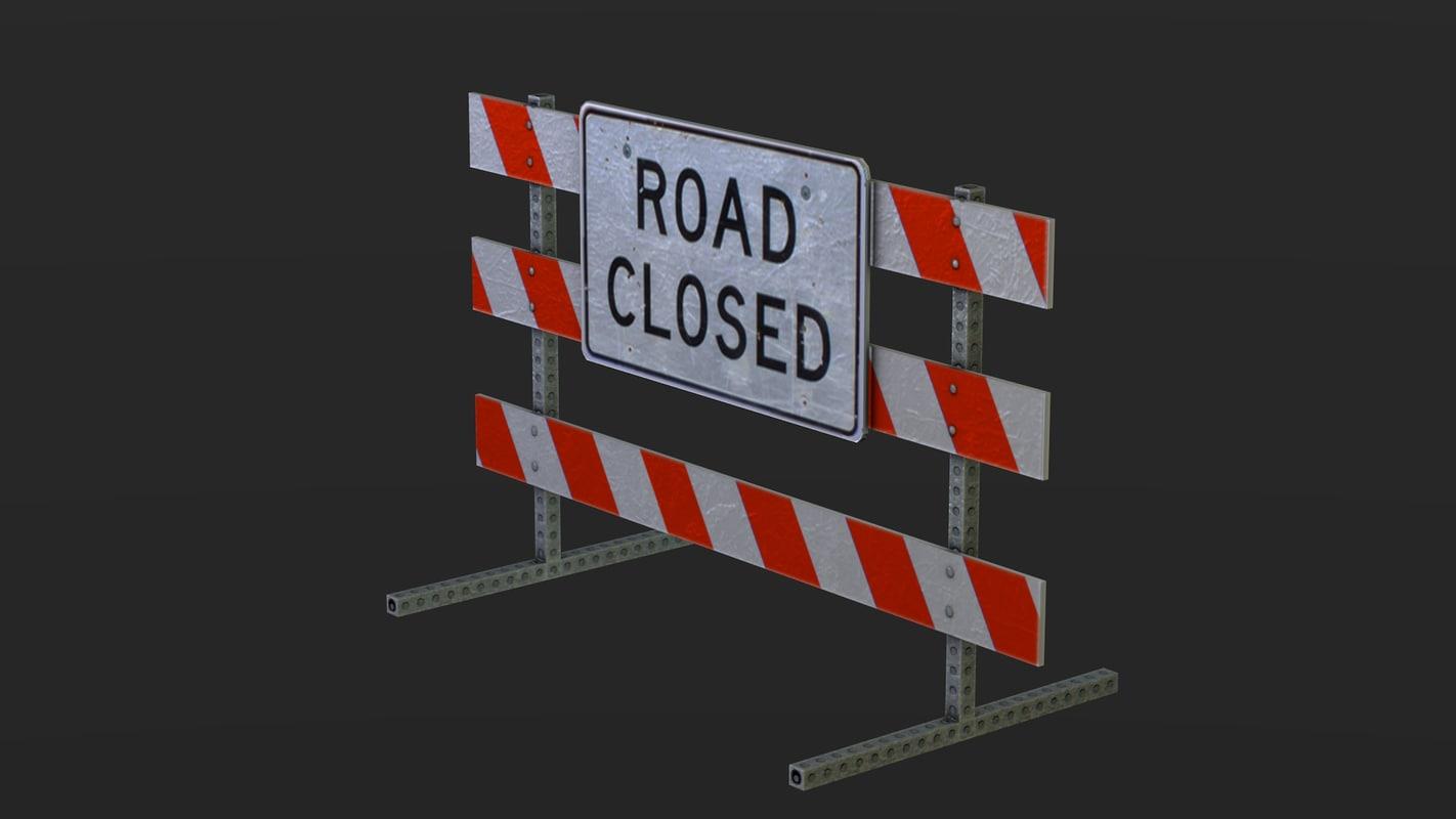 close road sign 3d 3ds