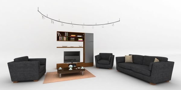 3d couch suite lounger sitting room