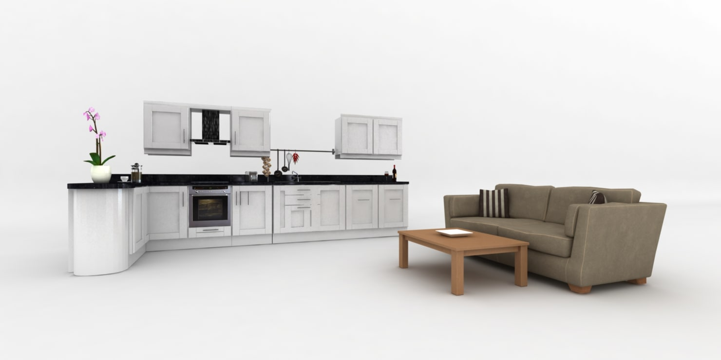 3d fitted kitchen couch