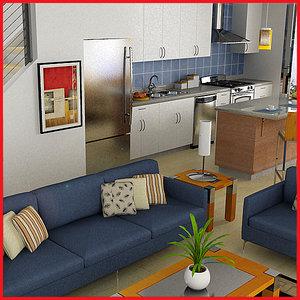 def modern classic living room 3d model
