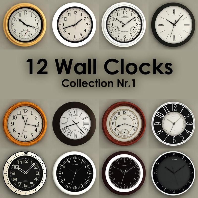 3ds max 12 wall clocks