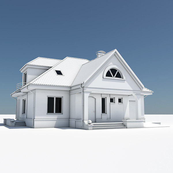 3d model single house garage