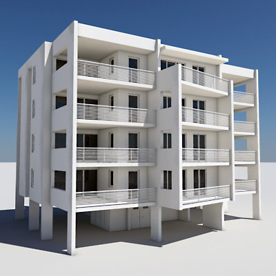3d apartment building model for Apartment 3d model