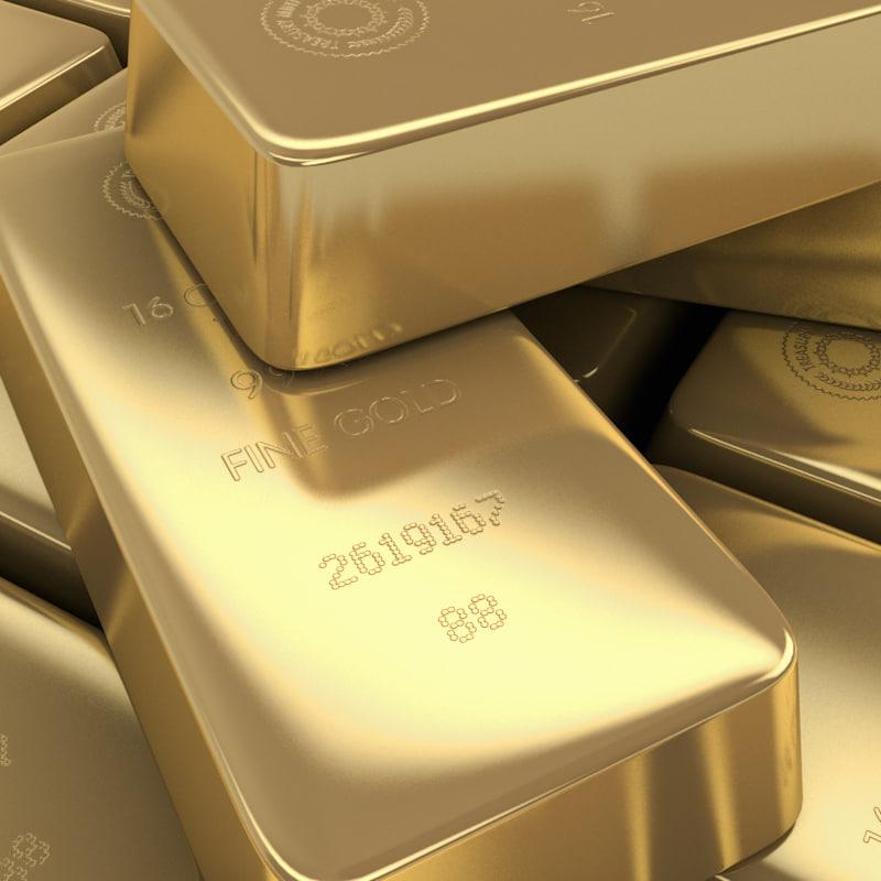 gold bullion 3d model