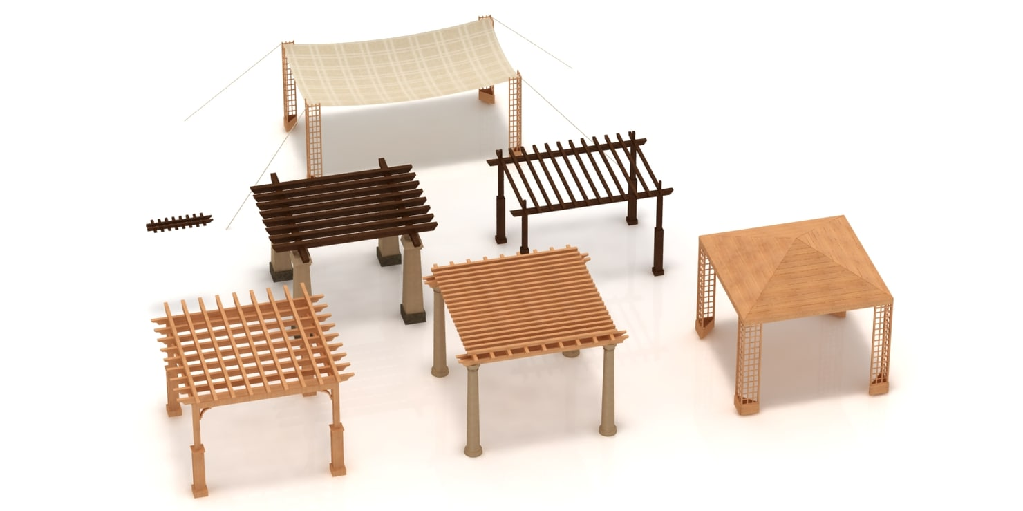3d pergolas wood model