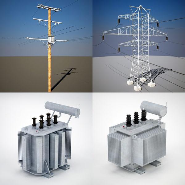 electric line transformer 3d max