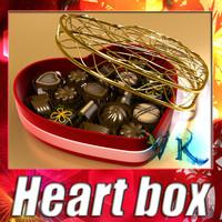 Heart box + 8 chocolates. High detailed.