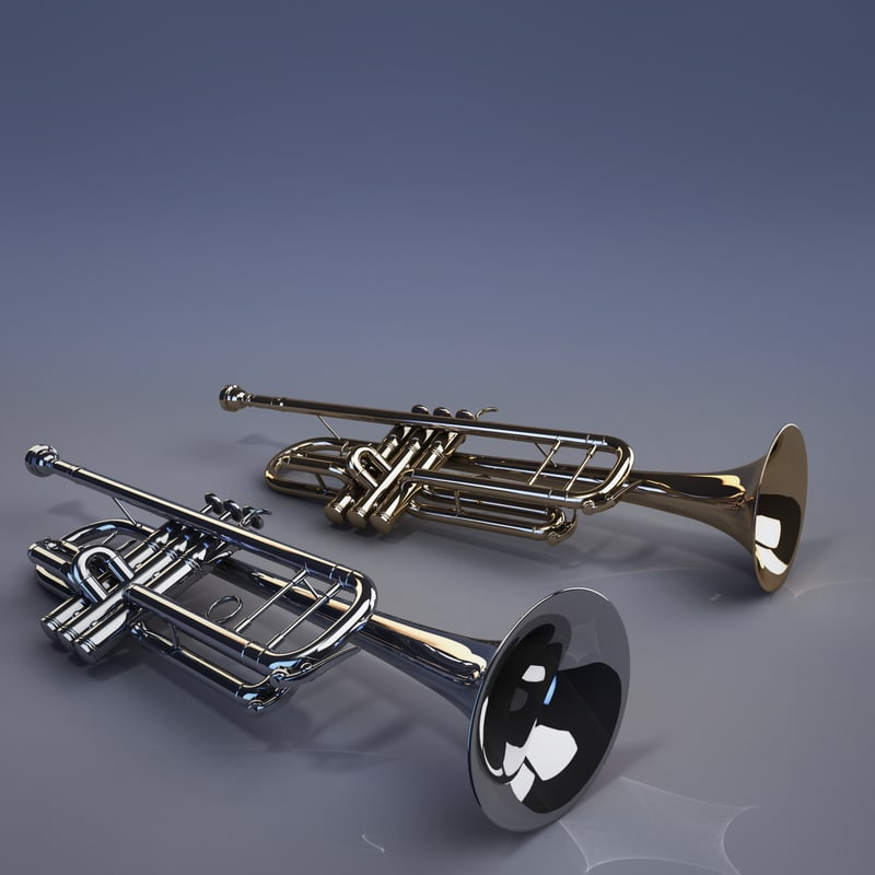 3d trumpet gold plated