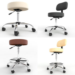 pack adjustable height stools 3d max