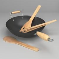 3d wok utensils model
