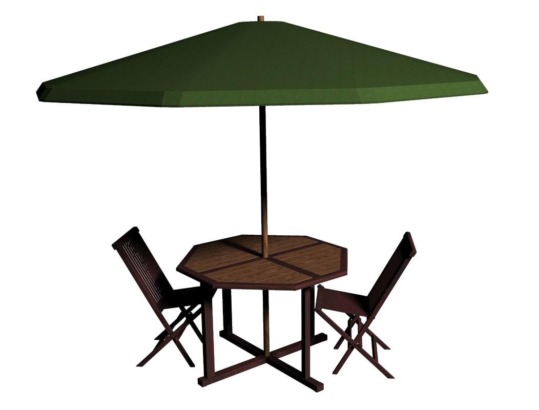 garden table chair 3d model