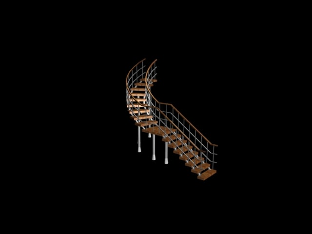 spiral stair staircase lobby 3d 3ds