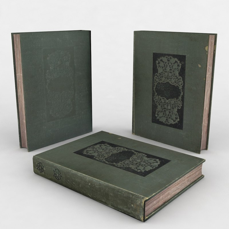 3d old book green model