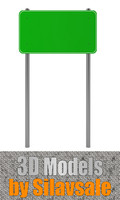 green traffic sign 3d model