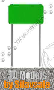 green traffic sign 3d model