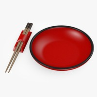 3d model of bowl chopsticks