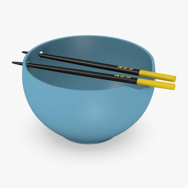 bowl chopsticks 3d 3ds
