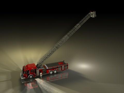 3d c4d aerial ladder truck