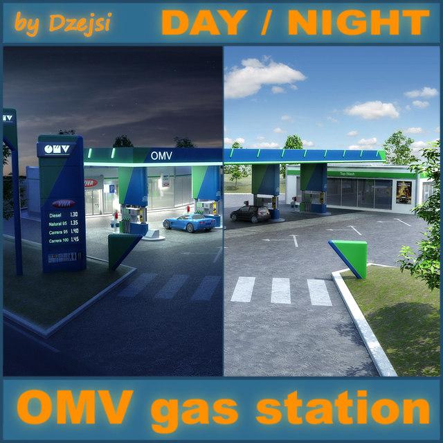 omv gas station day 3d model