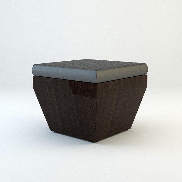3d model wood ottoman materials