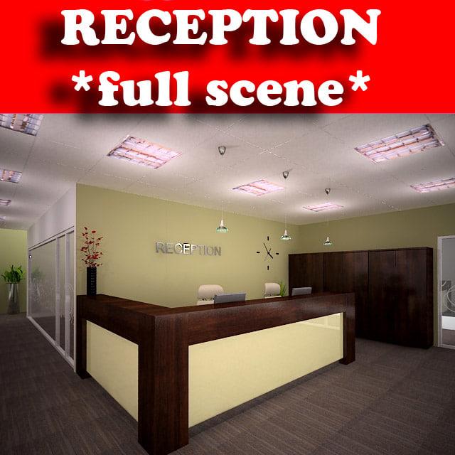 reception lighting 3d max