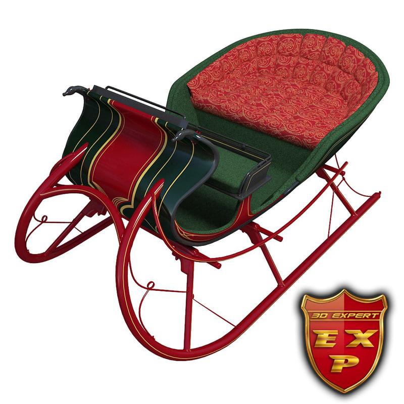 3dsmax sleigh cart