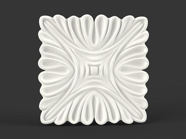 3d model flower squared carved
