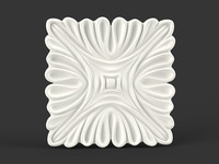 Square Carved Flower