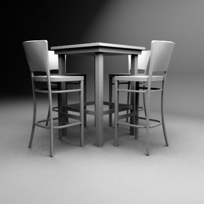 set bar table chairs 3d max