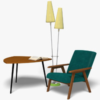 3d model 60ies-style furniture kit