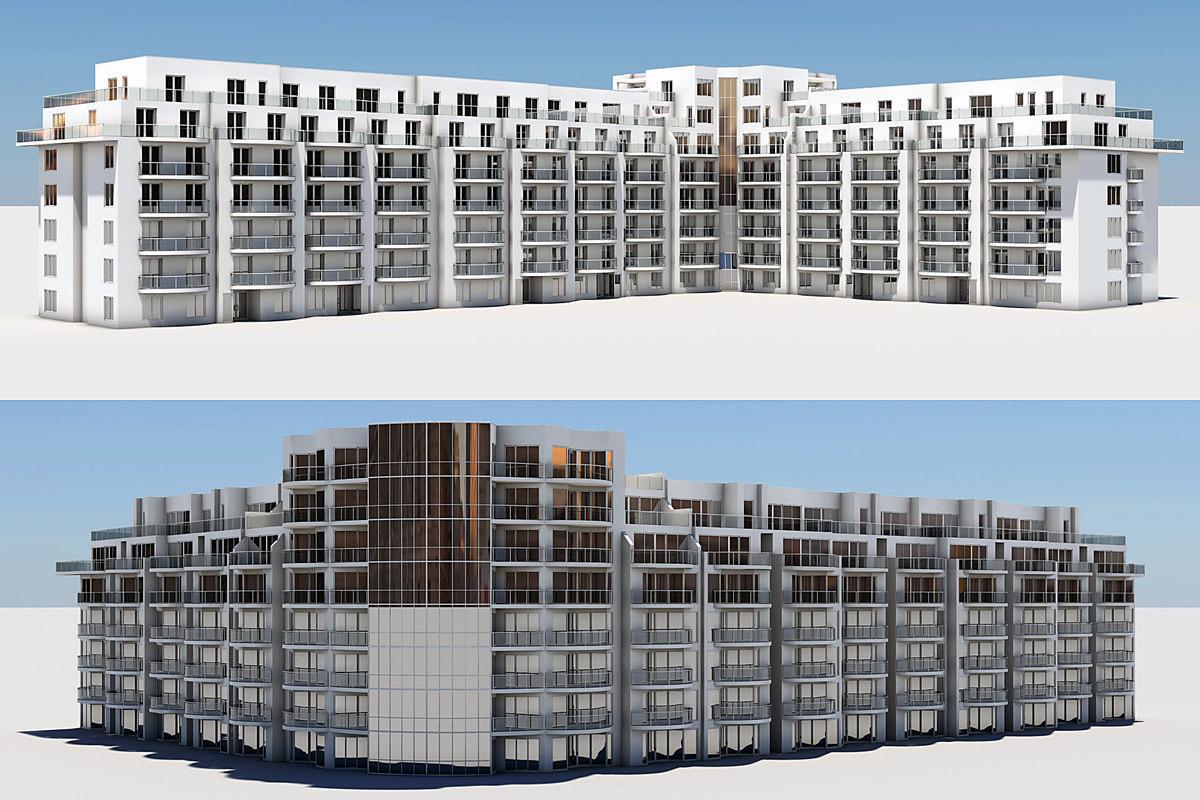 3d residential complex buildings