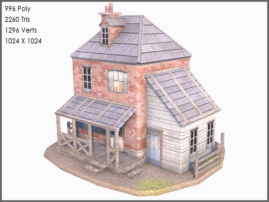 colonial brick house 3d max