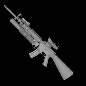 3ds max m16a4 m203 grenade launcher