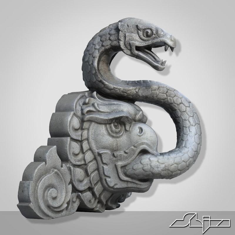 3d model thailand snake fontain sculpture