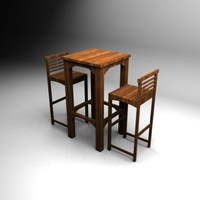 Wood Bar Table + Chairs Set