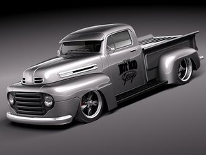 3d model f1 1950 pickup antique