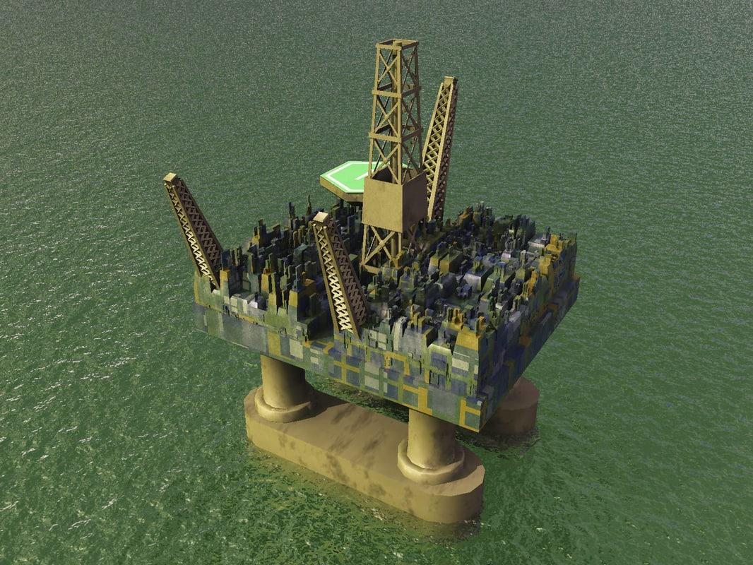 oil platform 3d vue