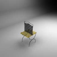 3d model compact metal chair