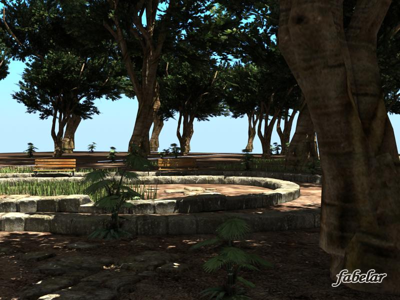 park plants benches 3d model