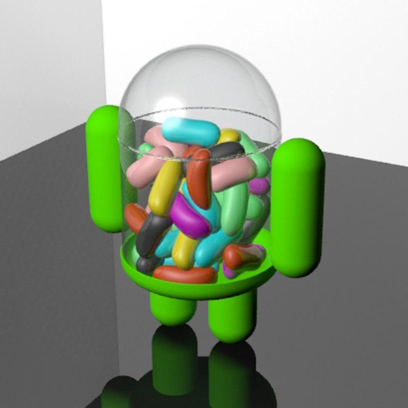 android jellybean mascot beans 3d max